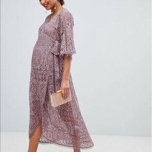 Baby Shower, Maternity Lace Wrap midi dress